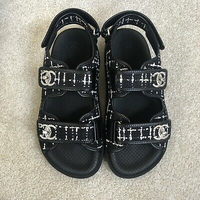 Chanel Cc 19s Tweed Double Strap Platform Sandals Size 39 Sold Out