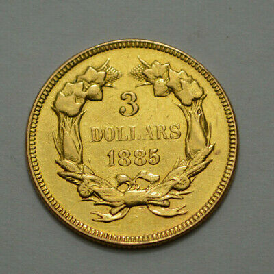 1885 Scarce Liberty Indian Head  $3 Dollar Gold Us Coin Extremely Rare Coin Old!