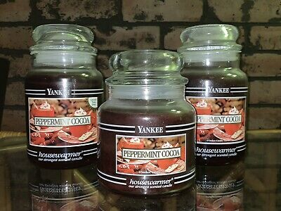 Yankee Candle Black Band Peppermint Cocoa Christmas Holiday Scent Lot Of 3