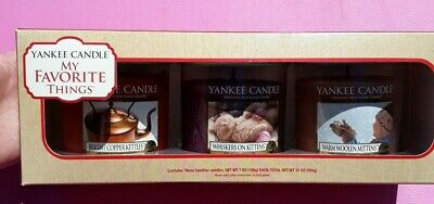 Yankee Candle Set 3 Jars My Favorite Things Collection Kettle Whiskers Kittens
