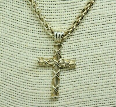 "Vintage Sterling Silver Theo Fennel Crucifix On Spiga Chain Necklace 18"" #p648"