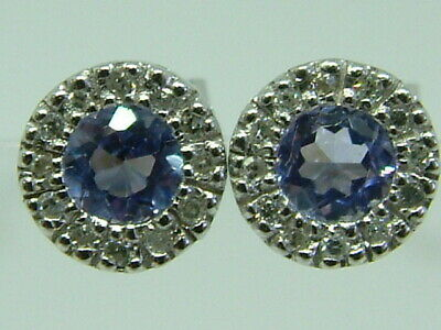 Neat Small Art Deco 9ct White Gold Look Tanzanite Diamonds Cluster Stud Earrings