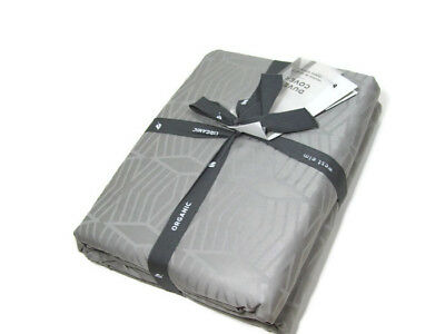 West Elm Gray 400 Tc Sateen Cotton Diamond Stripe Full Queen Duvet Cover 2 Shams