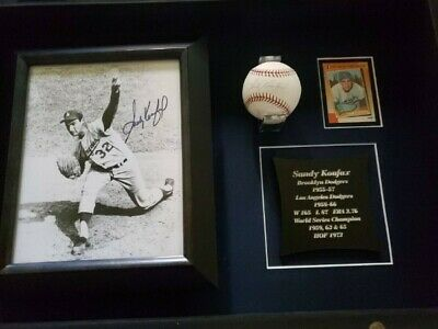 Sandy Kofax Signed Baseball And Picture In A Display Case