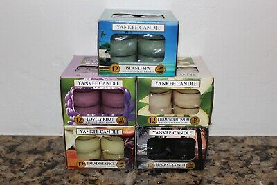 Yankee Candle Set Of 5 Boxes Of Tea Lights~paradise Spice~island Spa~beach~
