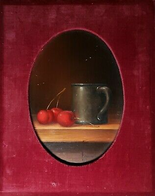 Vintage Long Beach Ca Kansas City Mo Still Life Pewter Cherries Painting Chicago