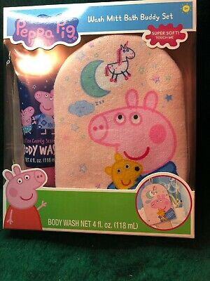 Peppa Pig Wash Mitt Bath Buddy Set Cotton Candy Scented Boxed Gift Ages 3+ New