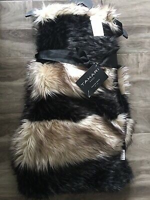 """Tahari Home Faux Fur Plush Soft,luxurious And Cozy Black And Beige Throw 50""""x60"""""""