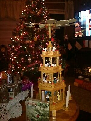 """Christmas Expressions 4 Tier Wood Pyramid Nativity Scene 24"""" Tall Carousel"""