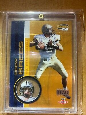2001 Pacific Invincible Gold Drew Brees Rc #d 55 Rare
