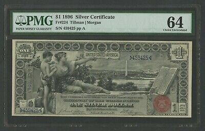 "Fr224 $1 1896 Silver Cert ""education"" Note Pmg 64 Very Choice Unc Wlm9887"