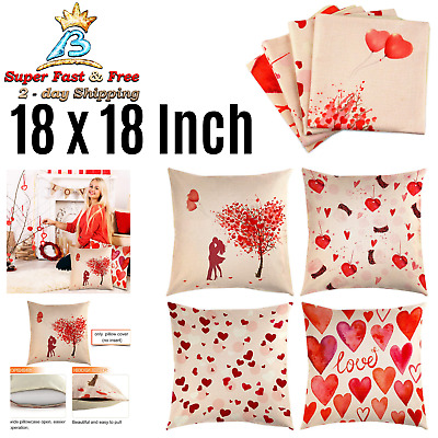 Happy Valentines Day Throw Pillow Linen Pillow Case Cover Decor 18 Inch 4 Piece
