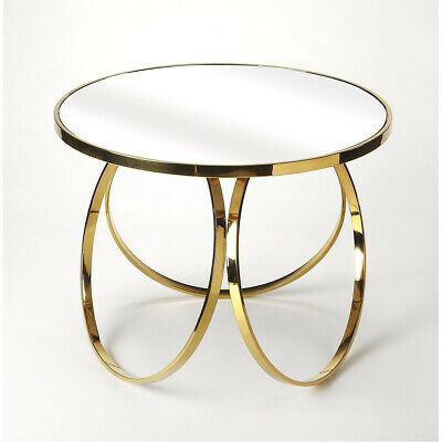 Metalworks Prentiss  29 X 29 Inch Polished Gold Accent Table