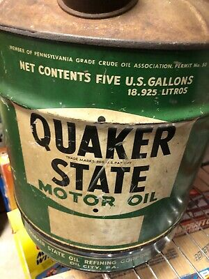 Rare Early Vintage Quaker State 5 Gallon Motor Oil Can
