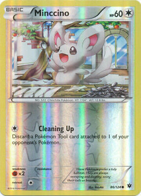 Minccino 86/124 Fates Collide Reverse Holo Common Near Mint NM Pokemon DNA GAMES