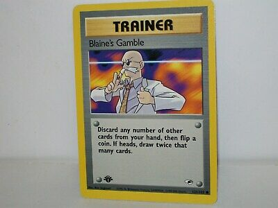 Blaine's Gamble 1st Edition Pokemon Card Trainer 121/132 Gym Heroes Mint New