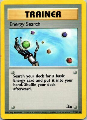 Energy Search 59/62 1999-2000 3rd Print Fossil Pokemon Card ~ Played