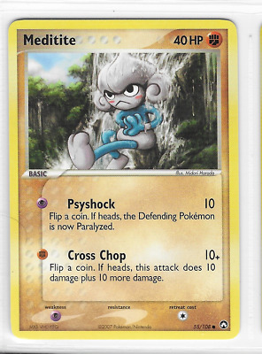 Pokemon Meditite 55/108 Power Keepers Common Near Mint Condition