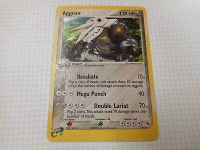 Pokemon Card Ruby and Sapphire Aggron 1/109 Holo Foil Rare 2003