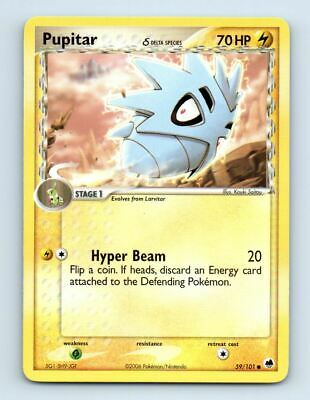 Pupitar 59/101 Non-Holo Ex Dragon Frontiers Pokemon Card ~ Played