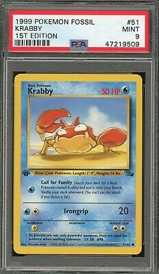 1999 Pokemon Fossil 1st Edition #51 Krabby PSA 9 Mint