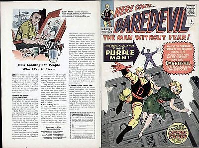 Jack Kirby Art 1964 Daredevil #4 Original Production Cover Proof Marvel Comics