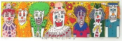 """james rizzi """"send in the clowns"""" 3 d construction lithograph"""