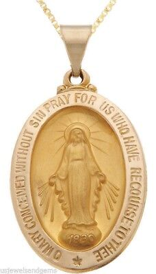 New 14k Yellow Gold Miraculous Virgin Mary Medal Pendant Necklace