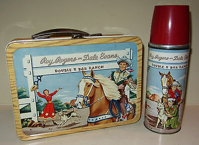 Stunning Vintage 1953 Metal Roy Rogers Lunchbox & Thermos  **museum Quality**
