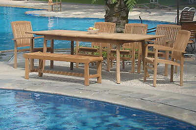 "Wave A-grade Teak 7pc Dining 94"" Rectangle Table,bench,stacking Arm Chair Set"