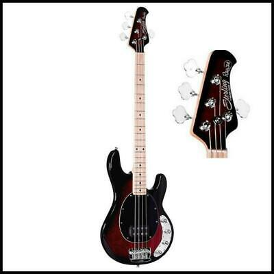 Sterling By Music Man Ray34 Electric Bass Guitar  Ruby Red  Burst Maple Board