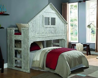 Kids Twin Club House Loft Or Bunk Bed - Add Full Bed Or Storage Space Underneath