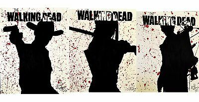The Walking Dead Popart Painting Rick Grimes Daryl Dixon Michonne 30x24 Set Of 3