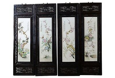 """Chinese Set Of  4 Hand Painted Famille Rose Porcelain Panels,  14.5"""" W X 50"""" H"""
