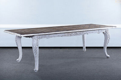 """French Handcarved Distressed White Extension Dining Table 102"""" With Leaves Bg"""