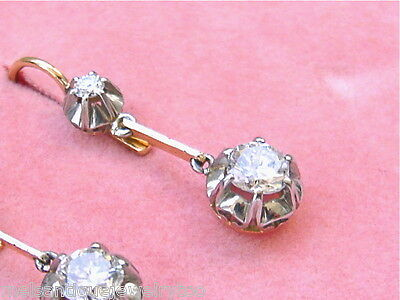 Vintage 1ctw Diamond Single Drop Platinum Earrings 1950