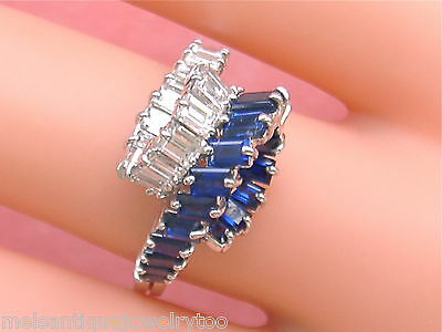 Vintage 1.6ctw Baguette Diamond 1.75 Sapphire Roller Coaster Cocktail Ring 1960