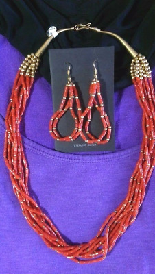 """22"""" red coral and gold necklace and 3"""" earrings set santo domingo collectible usa"""