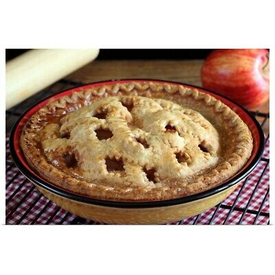 """Poster Print """"home Baked Apple Pie On Cooling Rack With Apple And Rolling Pin"""""""