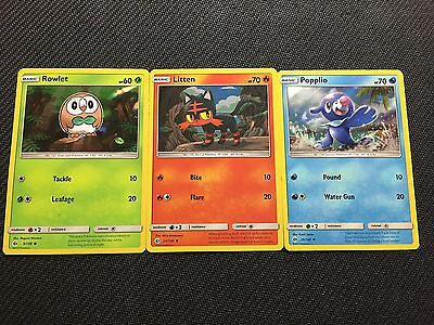 Pokemon TCG : SUN & MOON PROMO BUNDLE ROWLET/LITTEN/POPPLIO 9-24-39/149 HOLO