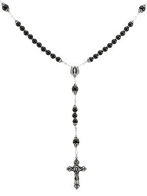 "Sterling Silver Rosary Necklace 8mm Onyx, Crucifix & M. Medal, 28"" Length"