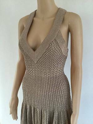 New Alaia Plunging Neckline Metallic Dress Sz It 40 / Us 4 Sold Out Everywhere!