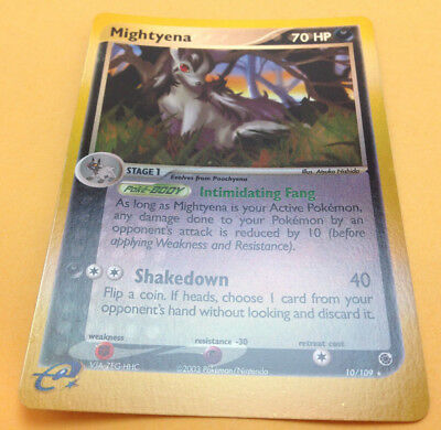 Pokemon EX RUBY AND SAPPHIRE Mightyena 10/109 Reverse Holo Rare Mint