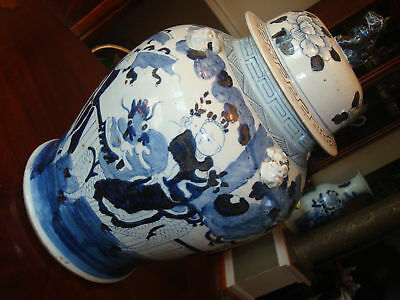 "Antique Chinese Blue And White Foo Dog Jar Urn Vase A, 23 1/2"", Qing Dynasty"