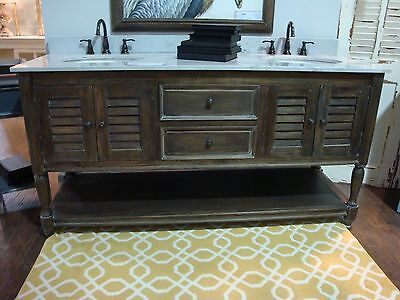 As Is Double Vanity Master Bathroom Marble Top W/ Sinks  Louvered Door Cocoa