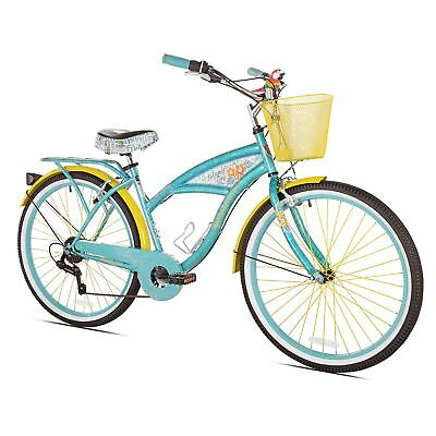 Women Bicycle Adult Multi-speed Cruiser Bike W/ Basket Bottle Opener And Parrot
