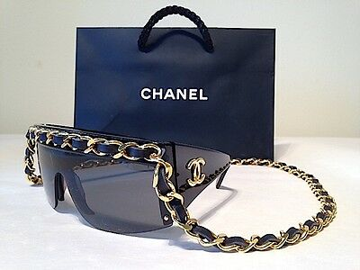 Vintage Chanel Black Link And Leather Chain Drop Sunglasses #: 0027 90 Authentic