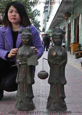 """30""""old Chinese Pure Red Bronze Tang Dynasty Servant Girl Hold Fan Lantern Statue"""