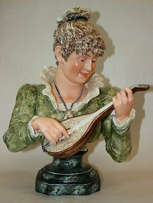 Pretty/old Majolica Rare Bust Of A Lady Playing Mandolin In Victorian Dress