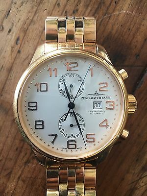 Zeno Watch Basel 18k Plated Giant Retro Watch.  Very Rare With Band